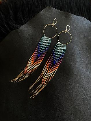 Handmade Lapis Lazuli 14k Gold Filled Hoop & Chain Seed Bead Earrings
