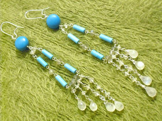 Turquoise Moonstone Chandelier Earrings
