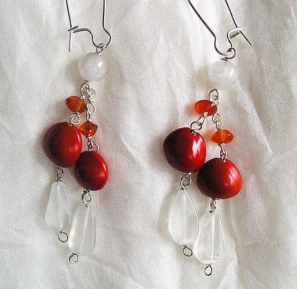Hawaiian Sandalwood, Moonstone, Carnelian earrings