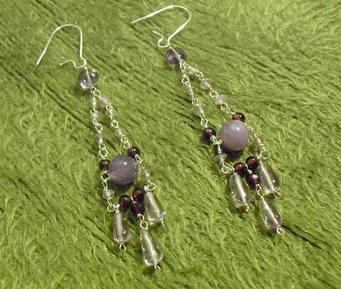 Amethyst Garnet Chandelier Earrings