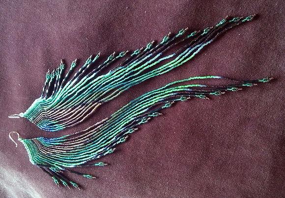 Maui Swan ~ Peacock Feather Seed Bead Earrings