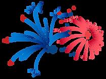 빨간색과 파란색 불꽃 놀이