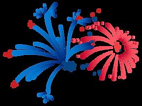 Rojo y azul de los fuegos artificiales