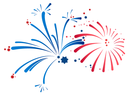 Drawing of red and blue fireworks intimating a patriotic display.