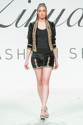 Velvet golden thread  embroidered  short suit