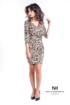 NH Creme & Brown Calligraphy dress