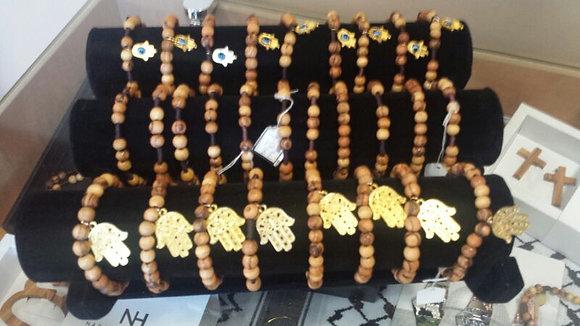 Charm Olivewood Bead bracelet  (Kaf / Cross)