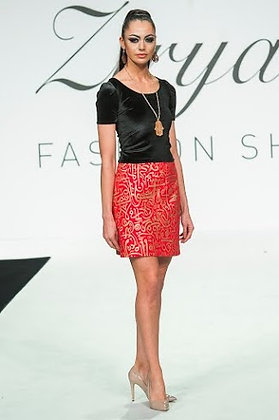 Red & Gold calligraphy skirt