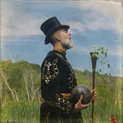 Fredo Viola, Oddfellows portrait with globe and horn by Nicholas Kahn