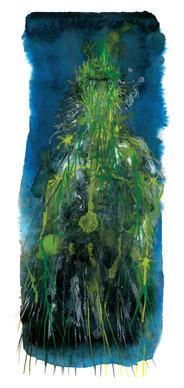 Clouded Mirror album cover, watercolor painting by Miran Kim depicting a human form draped in pine needles and grass with a blue sky background