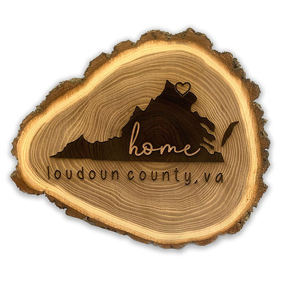 9in VA State Elm Log Trivet / Wall Decor