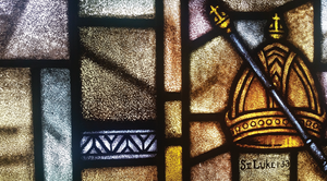 stained glass with crown