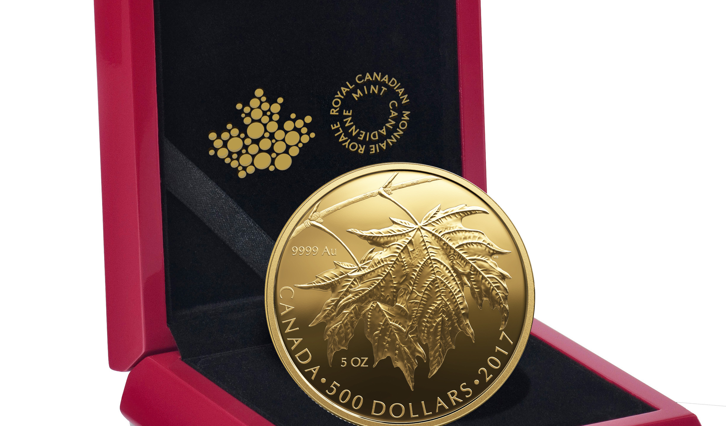 2017 $500 Pure Gold Coin- Sugar Maple Leaves-Packaging