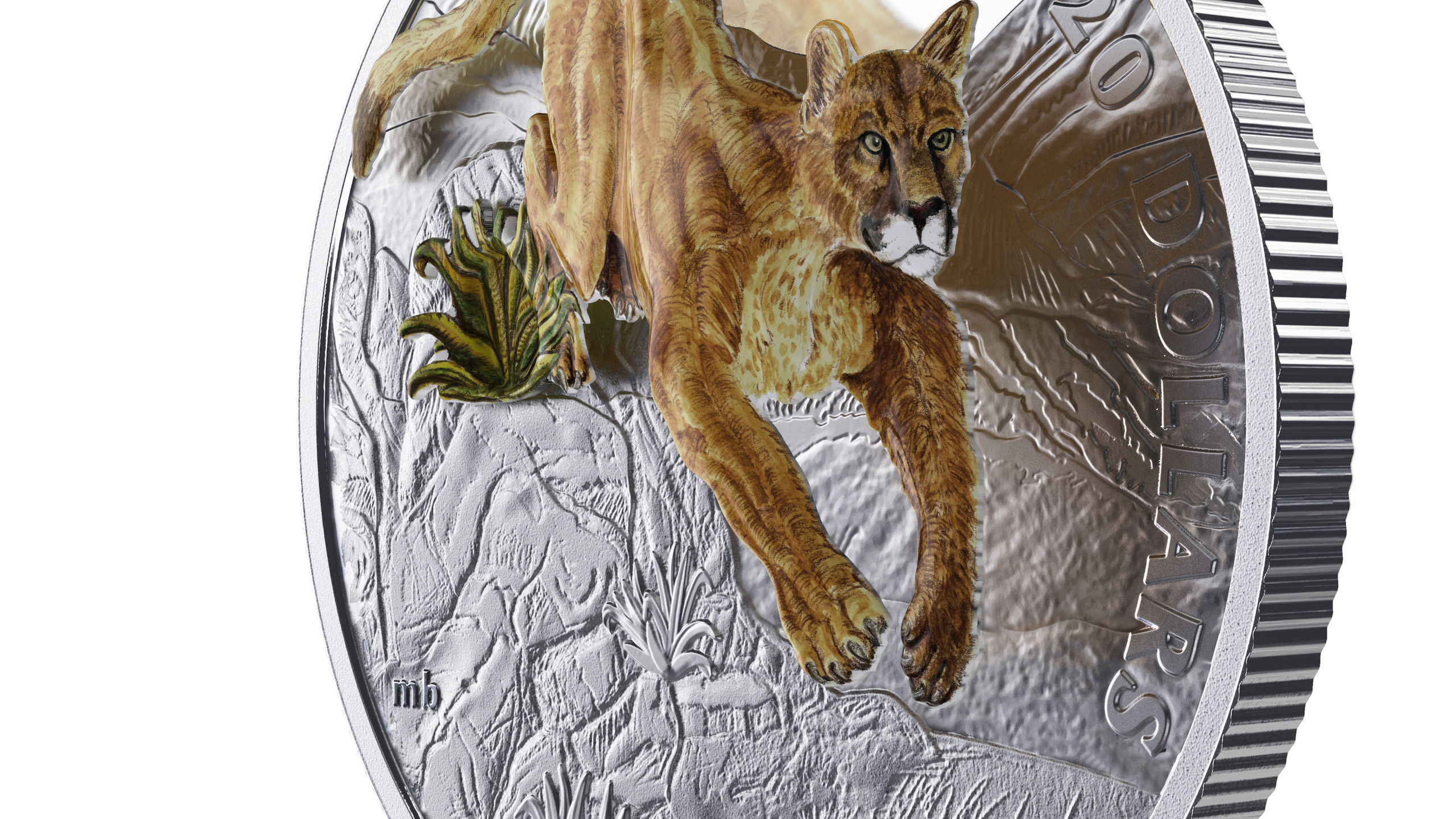 2017 $20 Fine Silver Coin- Leaping Cougar Side View
