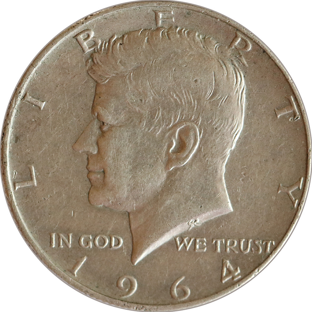 Half Dollar aus dem Jahr 1964 mit dem Bildnis von John F. Kennedy