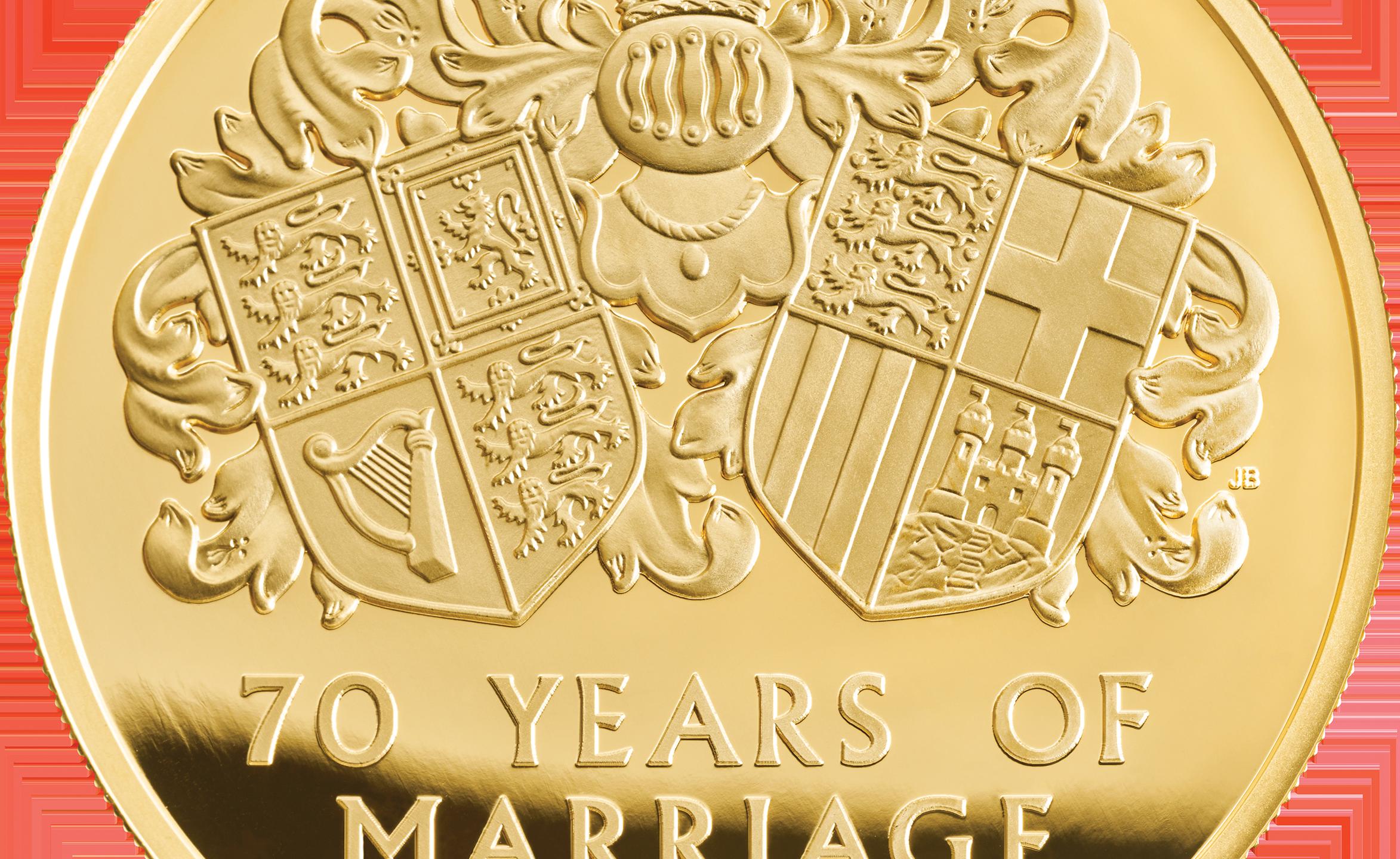 Platinum Wedding 2017 UK Five-Ounce Gold Proof Coin rev tone - ukp07516