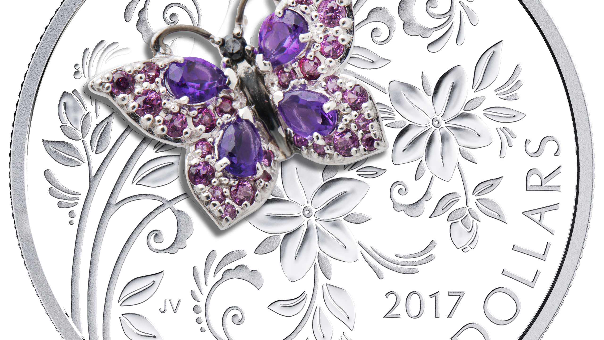 REVISED2017 $20 Fine Silver Coin - Bejeweled Bugs-Butterfly_rev