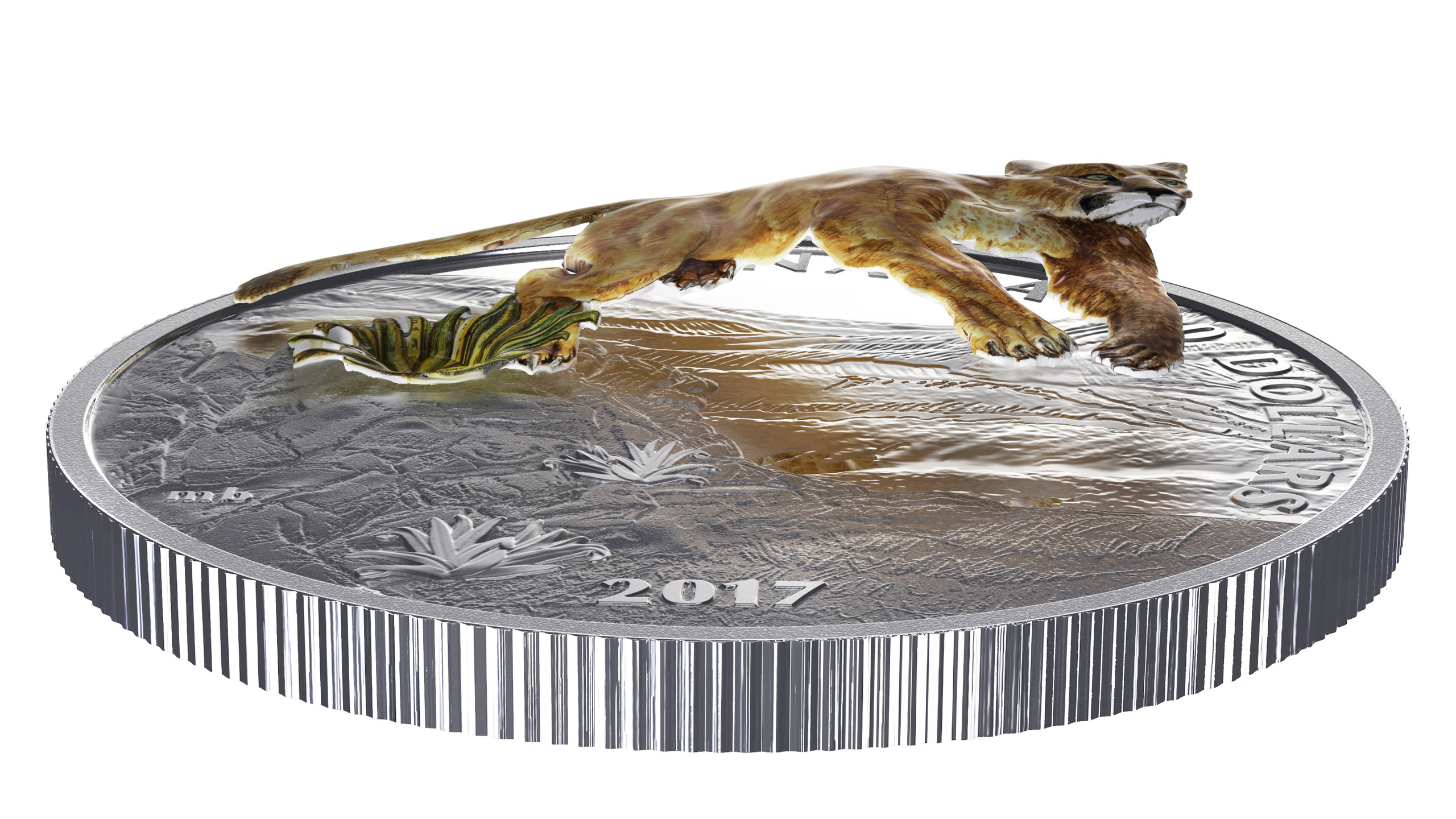 2017 $20 Fine Silver Coin- Leaping Cougar Flat View