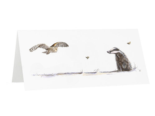 Night Watchman Badger and Barn Owl Greetings Card