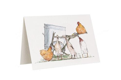 'Garden Gossip' Ducks And Hens Card