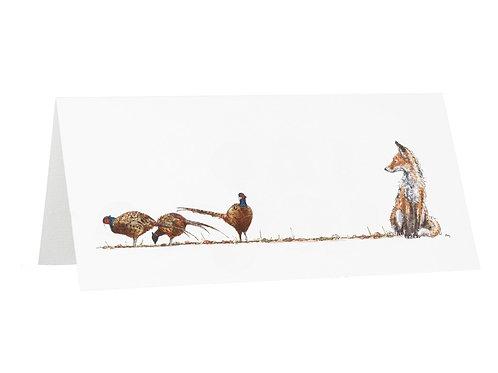 Fair Game Pheasants and Fox Greetings Card