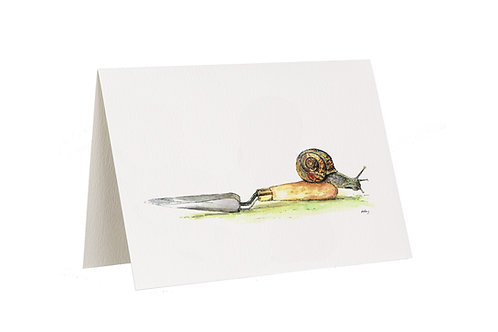 'Onwards' Snail And Trowel Card
