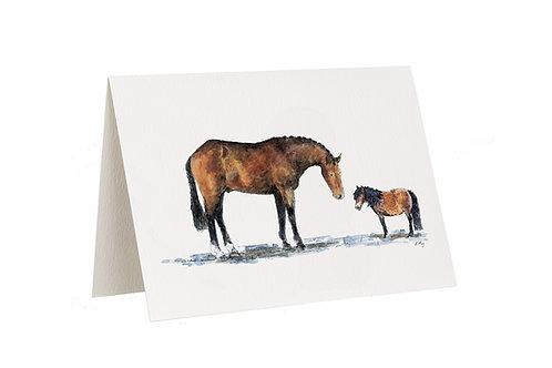 'We're Practically Twins!' Horse And Pony Card