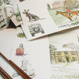 Christmas card designs in the making way