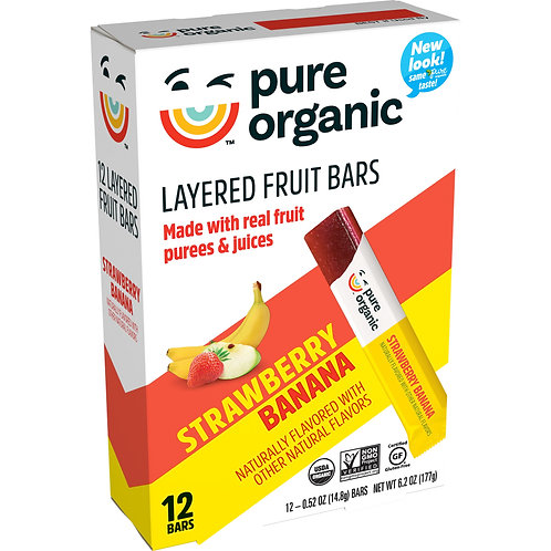 Pure Organic, Layered Fruit Bars, Strawberry Banana, 12 Ct, 6.2 Oz