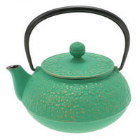Iwachu Gold/Forest Green Sakura Cast Iron Tea Pot