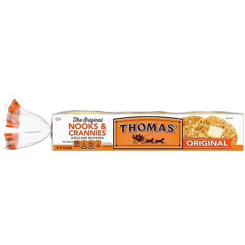 Thomas' Original Nooks & Crannies English Muffins, Fork-Split, 6-Count