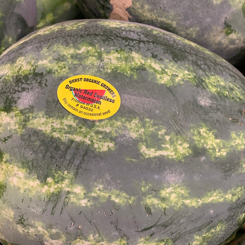 Organic red seedless watermelon appx8-10 lbs. (Local)
