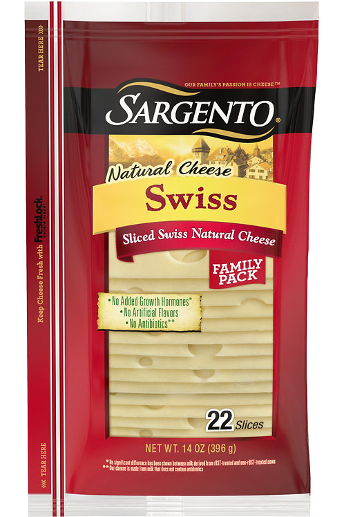 Sargento® Sliced Swiss Natural Cheese, 22 slices
