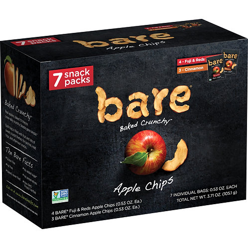 Bare Baked Crunchy Apple Chips, Variety Pack, 7 ct, 0.53 oz