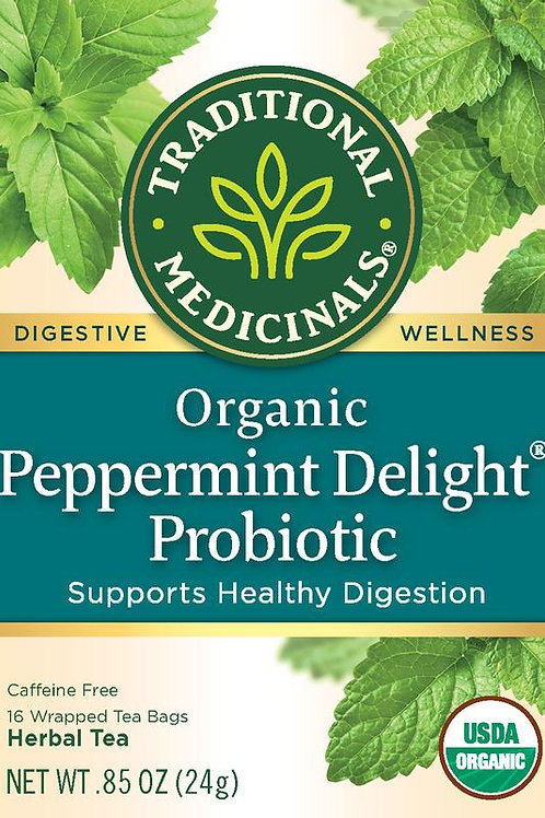 Traditional Medicinals Organic Peppermint Delight Probiotic, Tea Bags, 16 Count