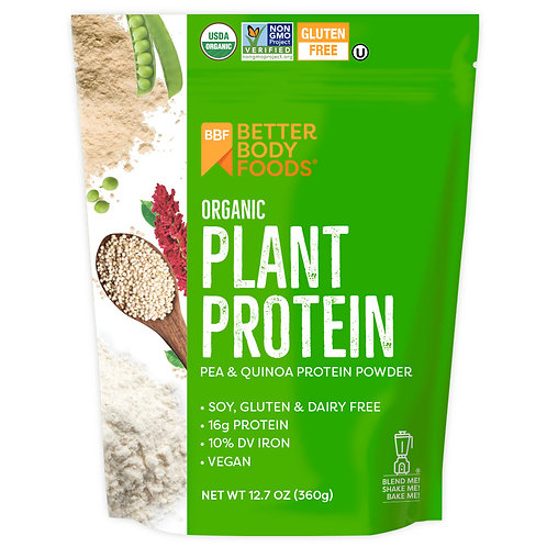 BetterBody Foods Organic Plant Protein Powder, Unflavored, 15g Protein, 12.7oz