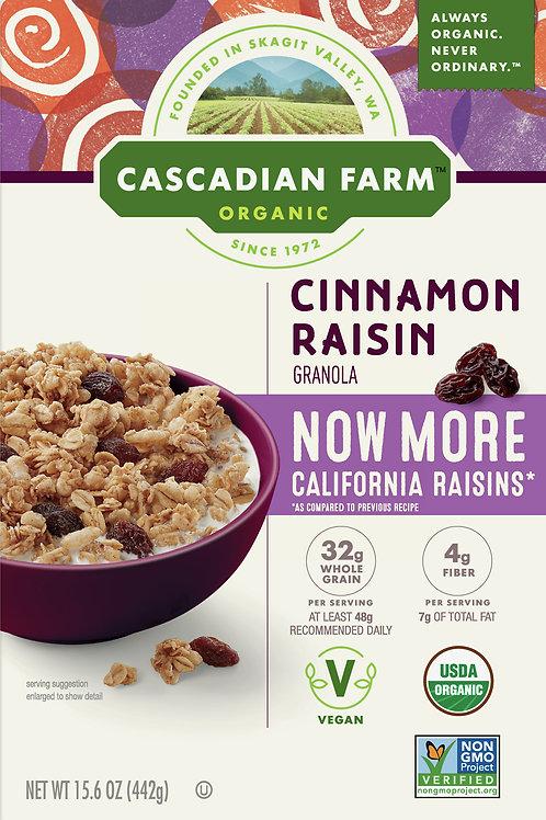 Cascadian Farm Organic Granola, Cinnamon Raisin Cereal, 15.6 oz