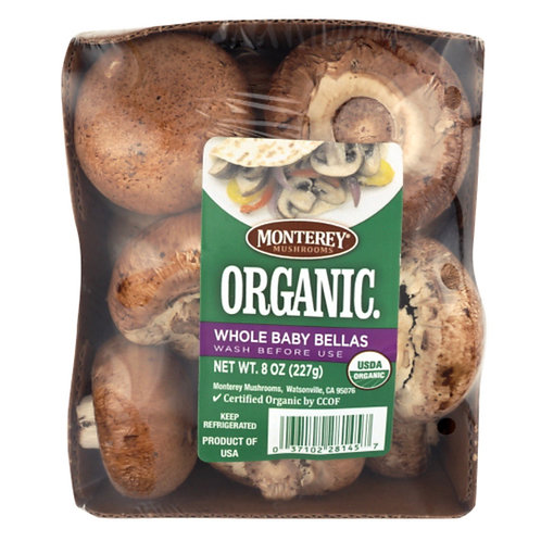 Organic baby Bella (crimini) Mushrooms 8z