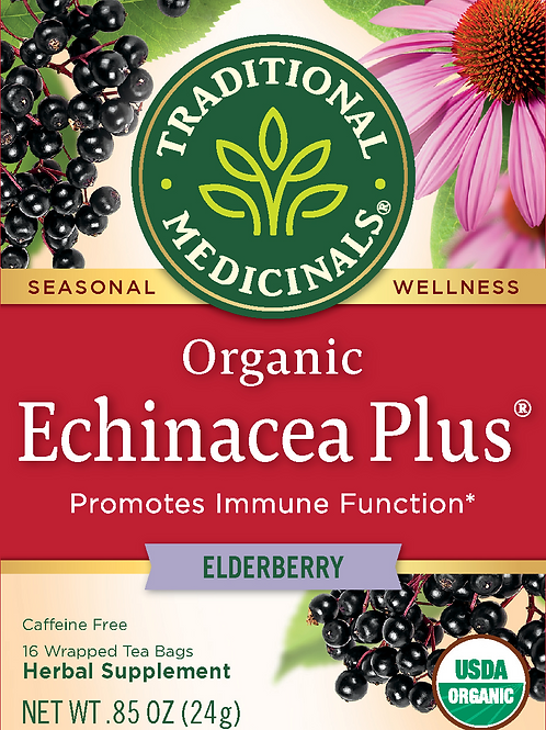 Traditional Medicinals Bagged Tea, Echinacea Plus Elderberry, 16 Tea Bags