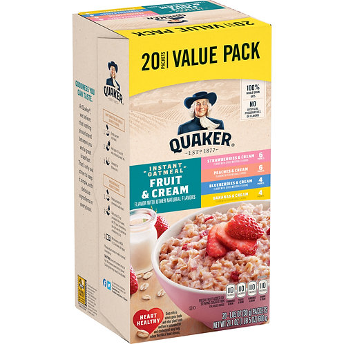 Quaker Instant Oatmeal, Fruit & Cream Variety Pack, Value Pack, 20 Packets
