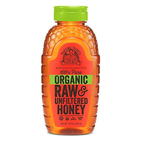 Nature Nate's Organic Honey, 100% Pure Raw & Unfiltered Honey, 16 Oz