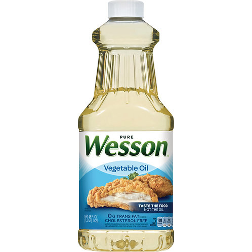WESSON Pure Vegetable Oil 0 g Trans Fat Cholesterol Free 48 oz.