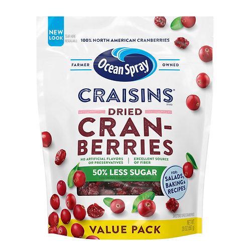 Ocean Spray Craisins Dried Cranberries, Reduced Sugar, 20oz