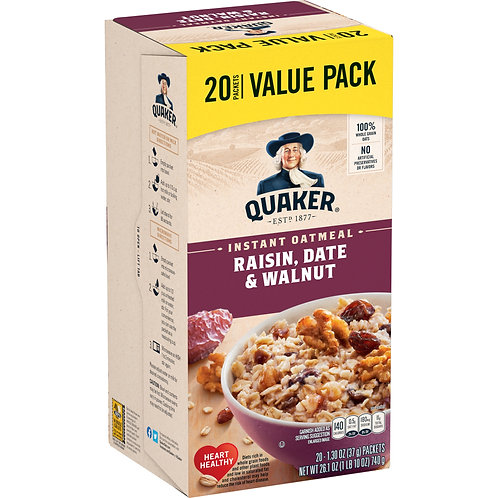 Quaker Instant Oatmeal, Raisin, Date & Walnut Value Pack, 20 Packets