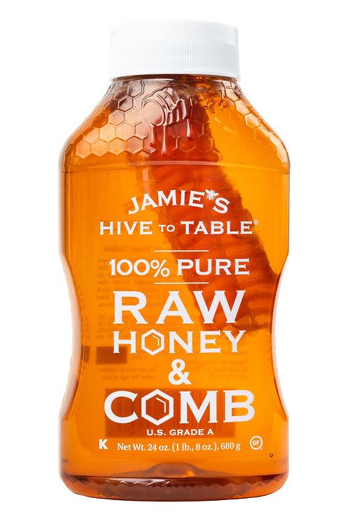 Jamies Hive To Table 100% Raw Honey & Comb, Pure Honey, 24 oz Bottle