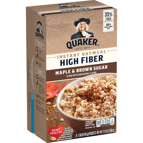 Quaker Select Starts, Instant Oatmeal, Maple Brown Sugar, High Fiber, 8 Packets