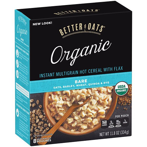 Better Oats Organic Instant Hot Cereal, Multigrain & Flax, 11.8 Oz