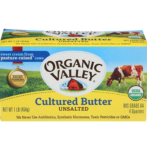 Organic Valley unsalted butter 1lb.