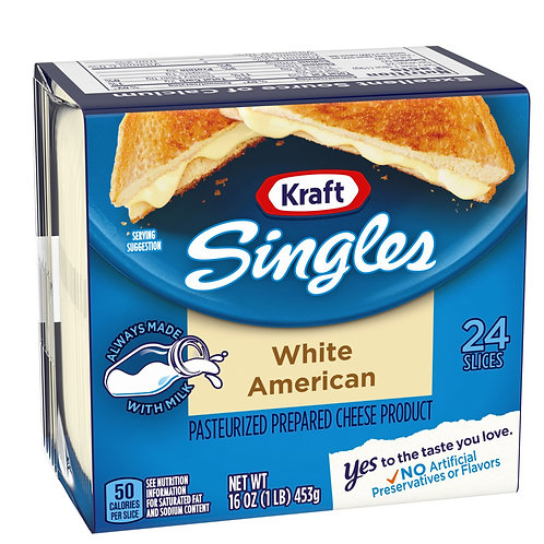 Kraft Singles Cheese Slices, White American Cheese, 24 ct - 16.0 oz Wrapper