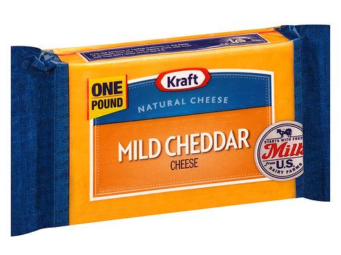Kraft Mild Cheddar Cheese Block, 16 oz Wrapper